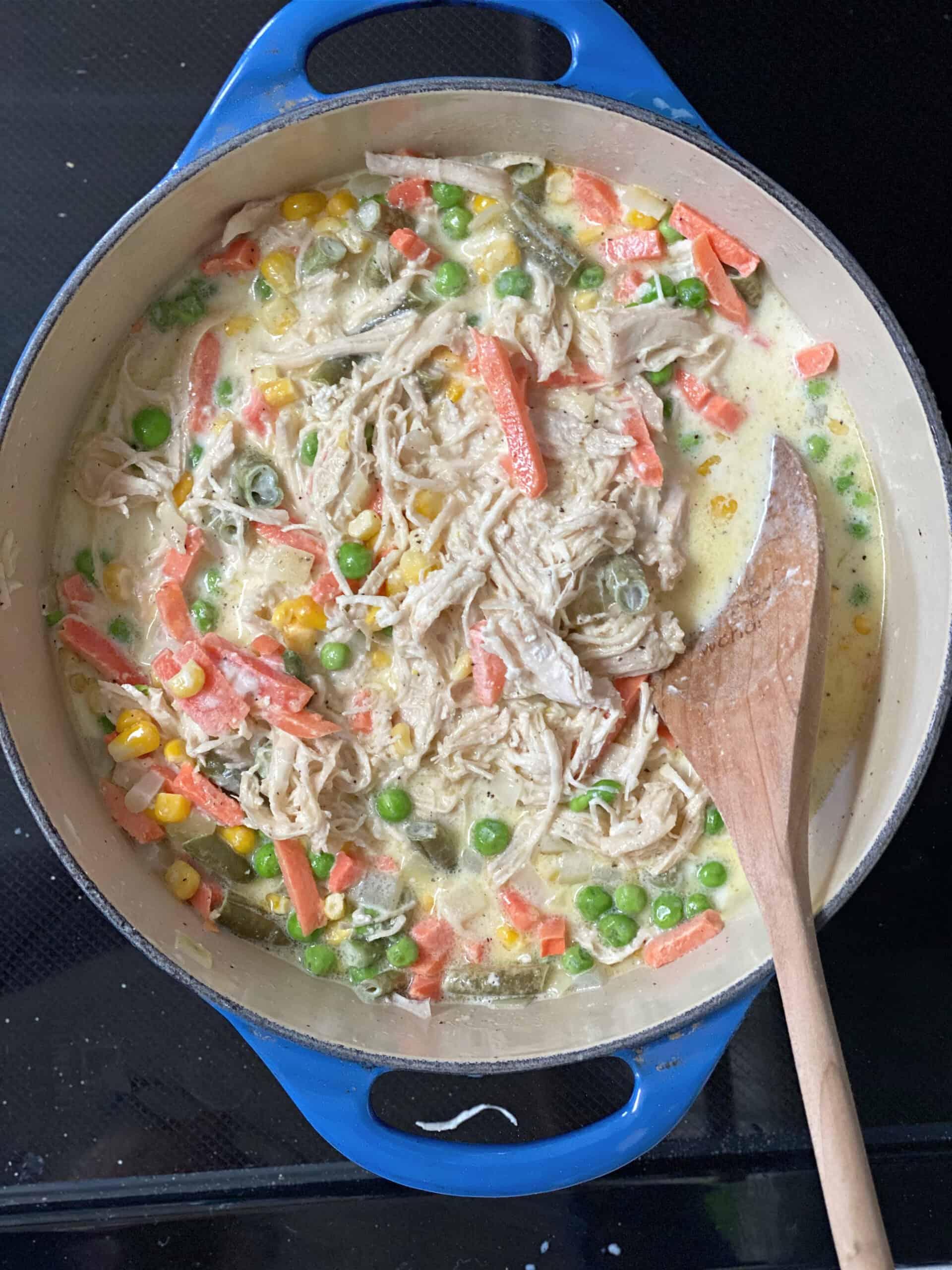 chicken pot pie mixture in a pot