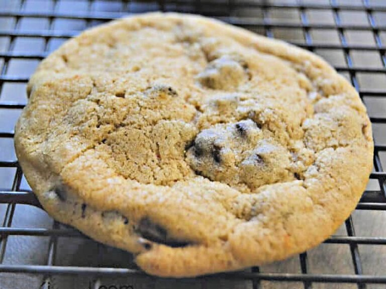 chocolate chip cookie on wire rack