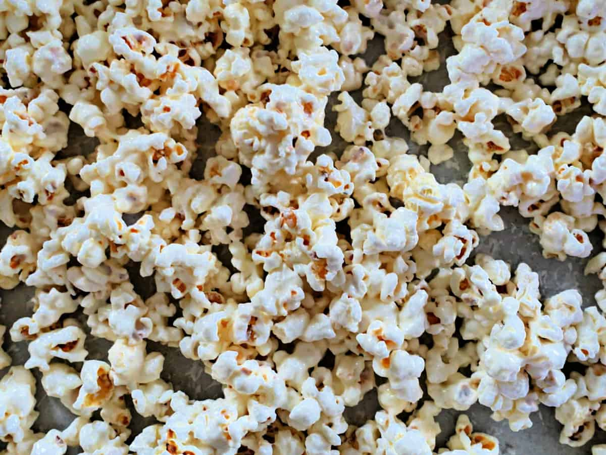 popcorn coated with melted white chocolate