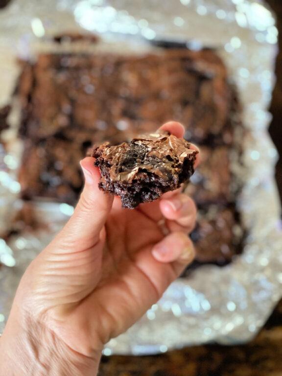 bite of dulce de leche brownies