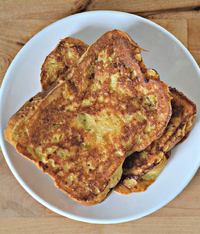 plain French toast on a plate