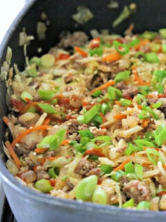 egg roll filling in a skillet