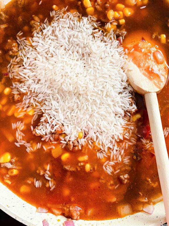 adding rice to casserole