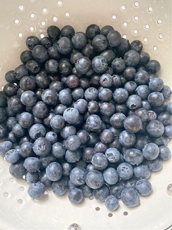 fresh blueberries in a collander