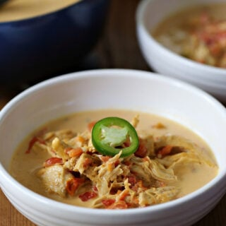 Bowl of chicken soup made with whipping cream, RoTel, and cheese.