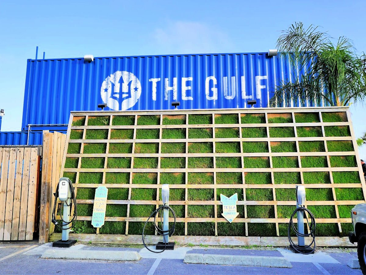 The Gulf restaurant made out of shipping crates.