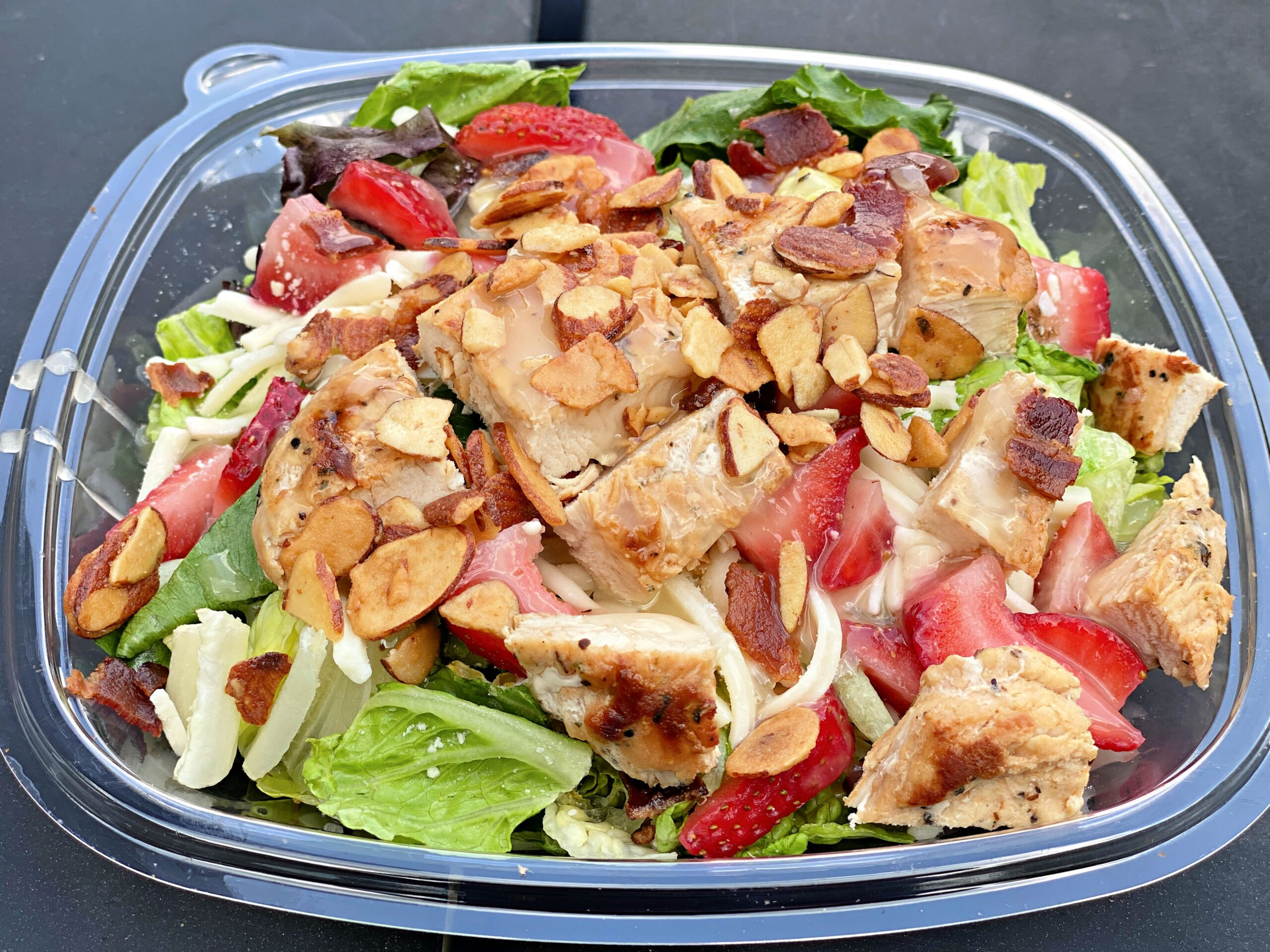 Wendy's Summer Strawberry Salad with chicken and fruit.