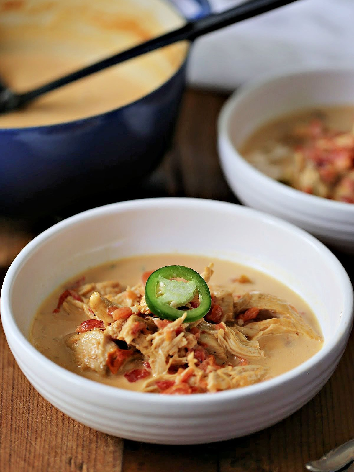 Bowl of low carb chicken soup made with RoTel and heavy cream.