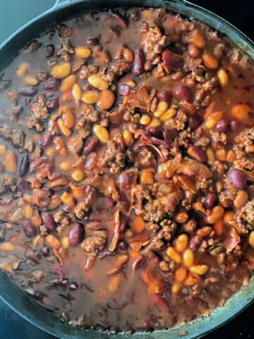 Skillet of beefy baked bean.