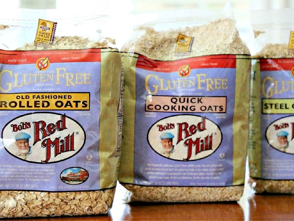 Three bags of Bob's Red Mill oats.