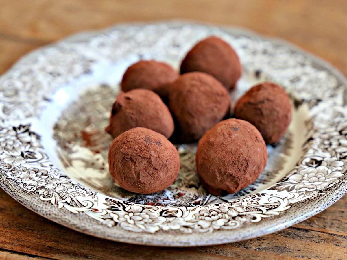 Plate of chocolate truffles.