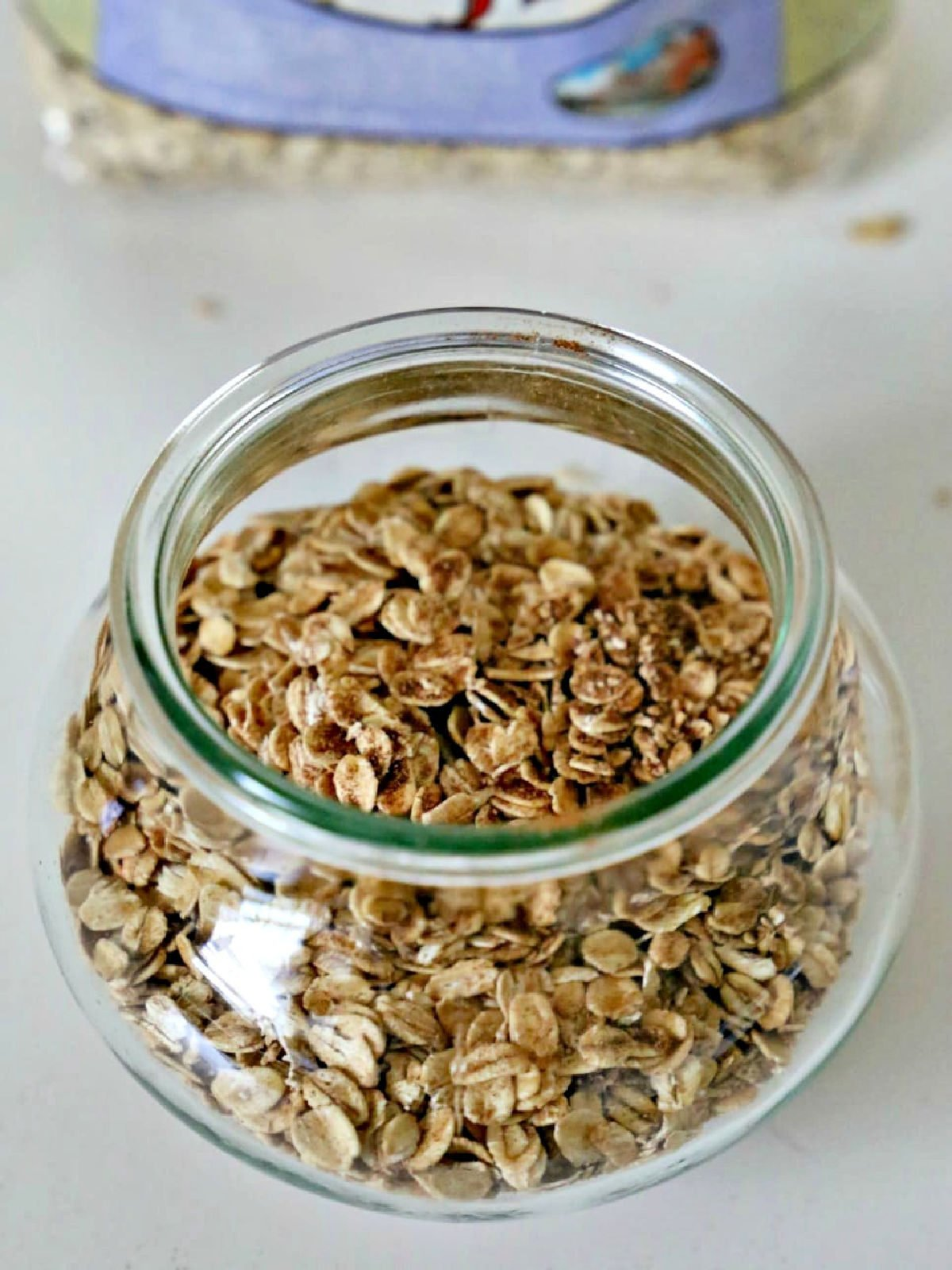 Glass jar with old fashioned oats.