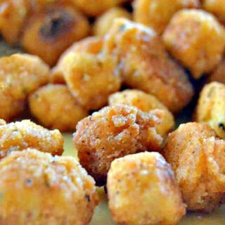 Popcorn tofu nuggets on a plate.
