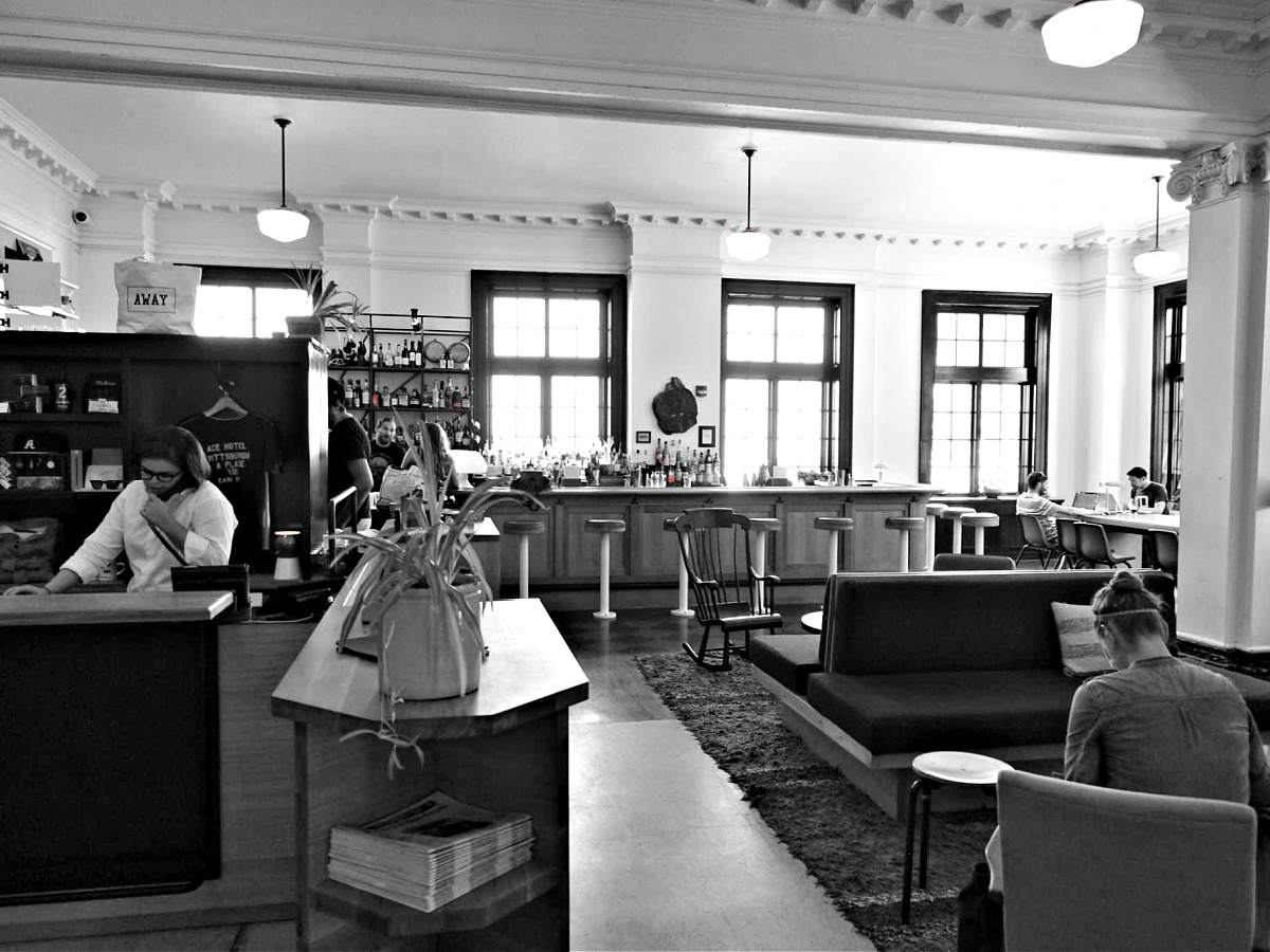 Black and white image of Whitfield restaurant located inside the Ace Hotel.
