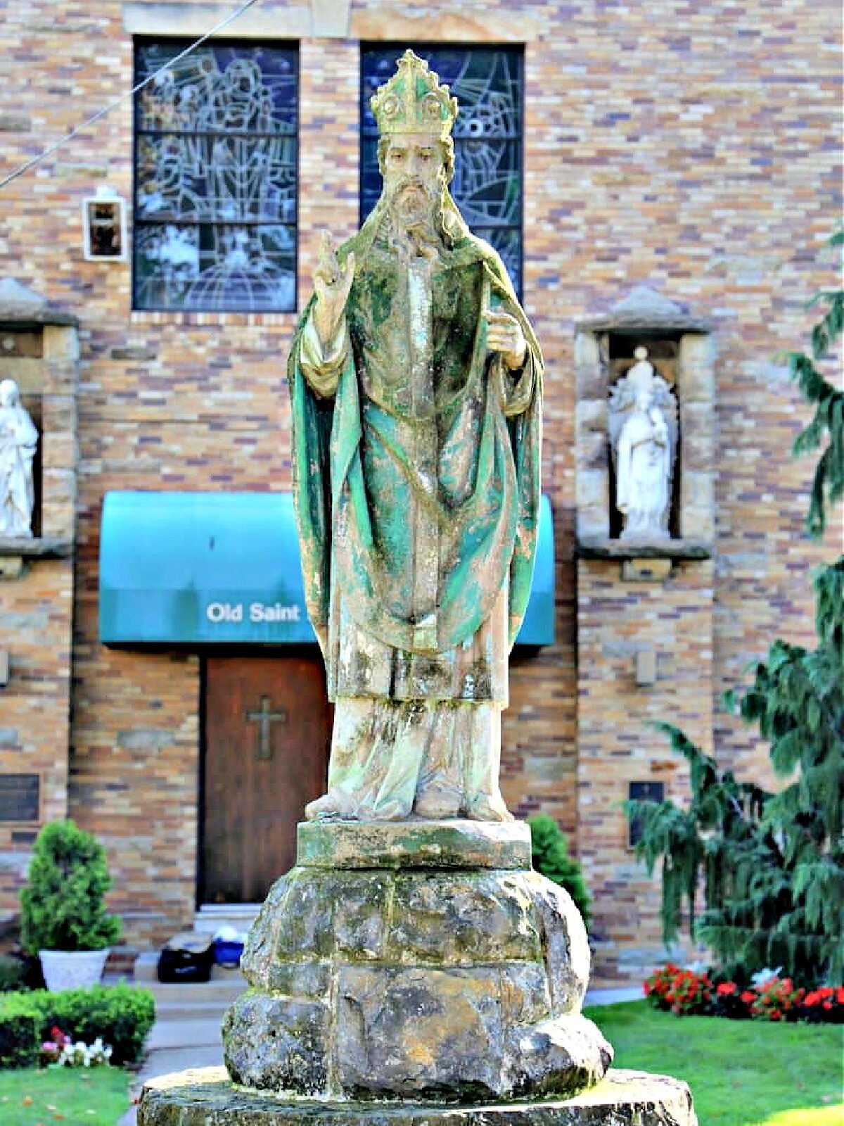 Statue in front of Old St. Patrick's Church in Pittsburgh.