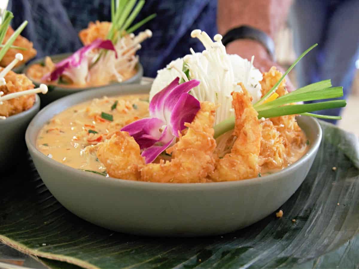Bowl of Alabama Crawfish Thai Bowl with Coconut Gulf Shrimp.