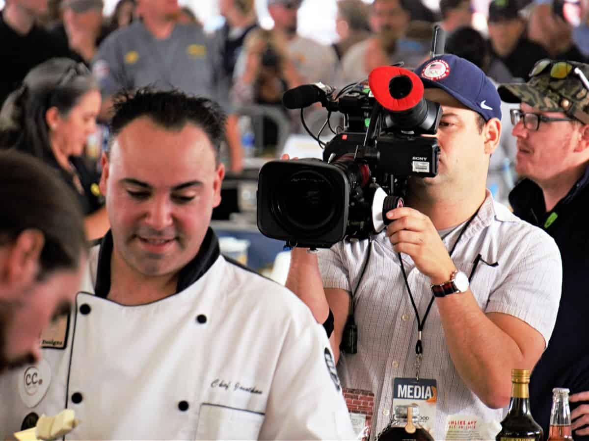 Camera man filming Chef Jonathon Scinto.