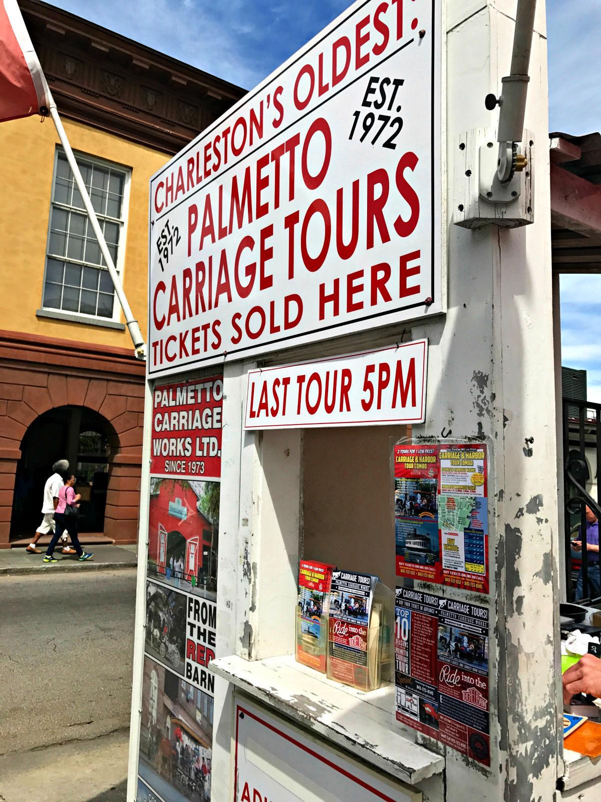 Palmetto Carriage Tours sign.