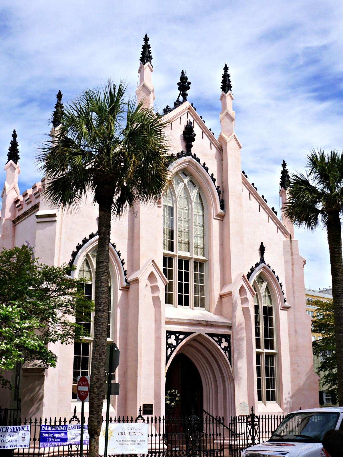 Pink French Huguenot church.