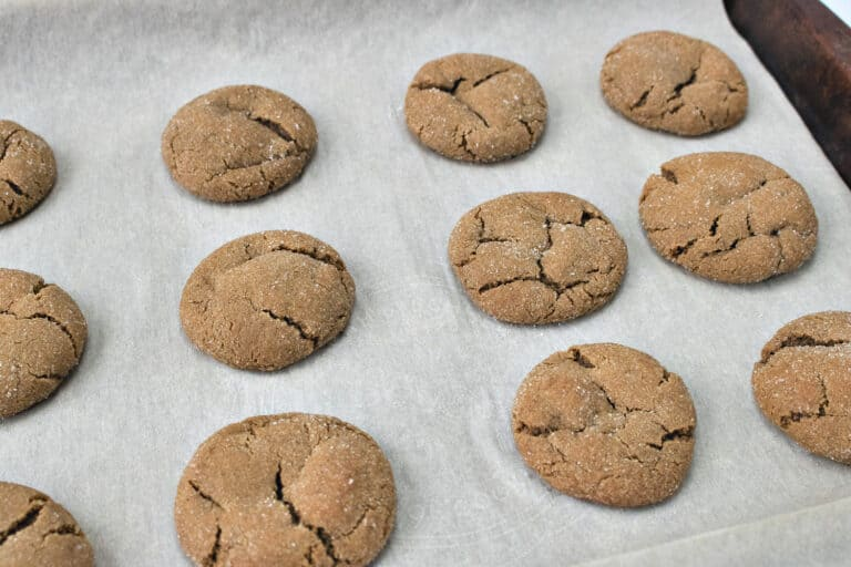 gingersnap cookies on parchment paper